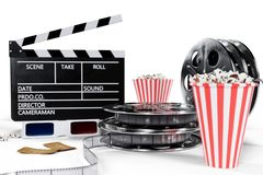 3D illustration, director chair, movie clapper, popcorn, 3d glasses, film strip, film reel and cup with carbonated drink. Isolated on white background. Cinema royalty free illustration