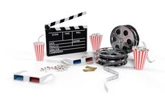 3D illustration, director chair, movie clapper, popcorn, 3d glasses, film strip, film reel and cup with carbonated drink stock illustration
