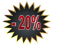 3d illustration. Discount 20 percent sign. Closeup Stock Images