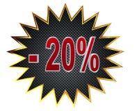3d illustration. Discount 20 percent sign Stock Images