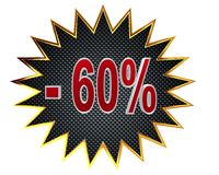 3d illustration. Discount 60 percent sign. Closeup Stock Photos