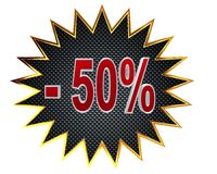 3d illustration. Discount 50 percent sign. Closeup Royalty Free Stock Image