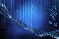 3D illustration of a DNA in beautiful background. 3D illustration of a DNA and cell in beautiful blue background royalty free illustration