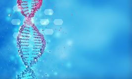 Genetic scientific research abstract background. 3d illustration of DNA double helix in a blurred blue background stock illustration
