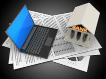3d black laptop. 3d illustration of documents and black laptop over black background with bank Stock Photography