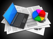 3d documents. 3d illustration of documents and black laptop over black background with pie chart Stock Photos