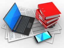 3d black laptop. 3d illustration of documents and black laptop over white background with binder folders Stock Photography