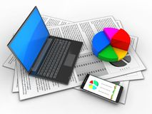 3d black laptop. 3d illustration of documents and black laptop over white background with pie chart Stock Image