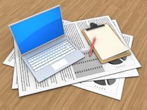 3d computer. 3d illustration of documents and computer over wood background with note vector illustration