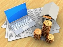 3d computer. 3d illustration of documents and computer over wood table background with bank vector illustration