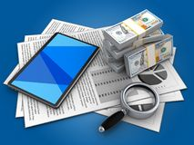 3d tablet computer. 3d illustration of documents and tablet computer over blue background with money Stock Photo