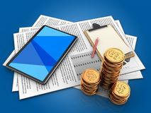 3d documents. 3d illustration of documents and tablet computer over blue background with note Stock Photos