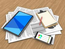 3d tablet computer. 3d illustration of documents and tablet computer over wood background with note Stock Image