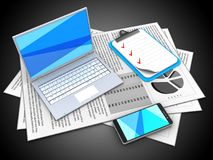 3d clipboard. 3d illustration of documents and white laptop over black background with clipboard Stock Images