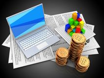 3d golden coins. 3d illustration of documents and white laptop over black background with graph Stock Images