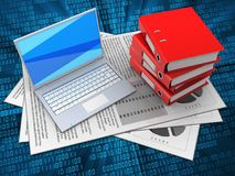 3d documents. 3d illustration of documents and white laptop over digital background with binder folders Royalty Free Stock Images