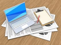 3d documents. 3d illustration of documents and white laptop over wood background with note Royalty Free Stock Image
