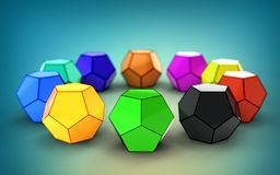3d illustration of dodecahedron royalty free stock photos