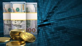 3d of dollar banknotes. 3d illustration of dollar banknotes over binary background with golden coins Stock Photos