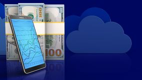 3d of dollar banknotes. 3d illustration of dollar banknotes over clouds background with phone Stock Photo