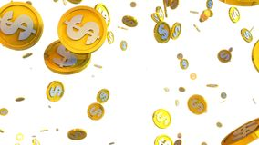 3D illustration of dollar coins falling on a white background. Computer generated 3D illustration of dollar coins falling on a white background Stock Images