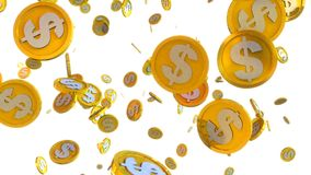 3D illustration of dollar coins falling on a white background. Computer generated 3D illustration of dollar coins falling on a white background Stock Image