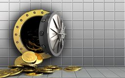 3d dollar coins over white wall Royalty Free Stock Photography
