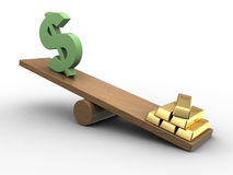 Dollar and gold seesaw. 3d illustration of dollar sign and golden bricks on scale board Stock Images