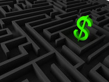 3d  illustration of dollar sign in maze Royalty Free Stock Photos