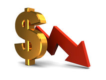Dollar falling graph. 3d illustration of dollar sign and red arrow, dollar falling concept royalty free illustration