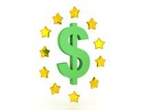 3D Illustration of dollar symbol with shiny stars around it Stock Photography