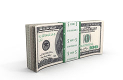 3d illustration of dollars a pack close up standing on the floor. Isolated on white background Stock Illustration