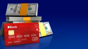 3d of dollars stack. 3d illustration of dollars stack over blue gradient background with bank card Stock Photo