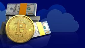 3d bitcoin. 3d illustration of dollars stack over clouds background with bitcoin Royalty Free Stock Images
