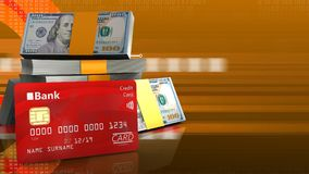 3d bank card. 3d illustration of dollars stack over orange cyber background with bank card Stock Photo