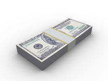 10000 dollars. 3d illustration of 10000 dollars stack, over white background Stock Images