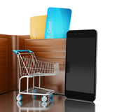 3d illustration. Dollars in wallet with shopping cart and smartphone vector illustration