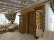 3D illustration of a drawing room and hall of the house from a l. 3D render of a drawing room and hall of the house from a log Stock Photography