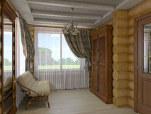 3D illustration of a drawing room and hall of the house from a l. 3D render of a drawing room and hall of the house from a log Royalty Free Stock Photos