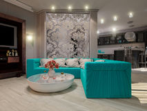 3D illustration of a drawing room and kitchen in style of an art Royalty Free Stock Photography