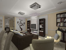 3D illustration of a drawing room and kitchen in style eclectici Stock Images