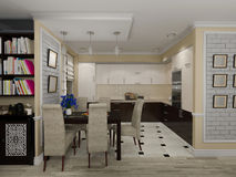 3D illustration of a drawing room and kitchen in style eclectici. 3D render of a drawing room and kitchen in style eclecticism in beige and brown tones Royalty Free Stock Photos