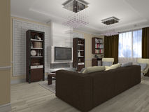 3D illustration of a drawing room and kitchen in style eclectici Stock Photo