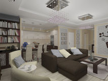 3D illustration of a drawing room and kitchen in style eclectici. 3D render of a drawing room and kitchen in style eclecticism in beige and brown tones Stock Photos