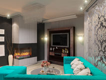3D illustration of a drawing room in style of an art deco. Angular fireplace. Postcard. 3D render of a drawing room in style of an art deco. Angular fireplace Stock Photos