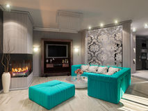 3D illustration of a drawing room in style of an art deco. 3D render of a drawing room in style of an art deco Stock Image
