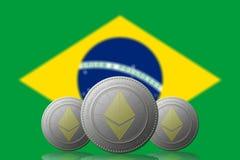 3D ILLUSTRATION drei ETHEREUM cryptocurrency mit BRASILIEN-Flagge auf Hintergrund stock abbildung