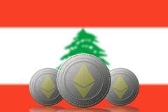 3D ILLUSTRATION drei ETHEREUM cryptocurrency mit der Libanon-Flagge auf Hintergrund lizenzfreie abbildung
