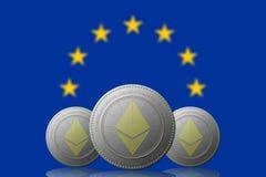 3D ILLUSTRATION drei ETHEREUM cryptocurrency mit EUROPEN-Union Jack auf Hintergrund vektor abbildung