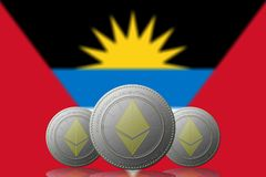 3D ILLUSTRATION drei ETHEREUM cryptocurrency mit Flagge ANTIGUAS Y BARBUDA auf Hintergrund lizenzfreie abbildung